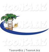 Vector Illustration of a Cartoon Palm Tree Mascot Waving and Standing Behind a Blue Dash on an Employee Nametag or Business Logo by Toons4Biz