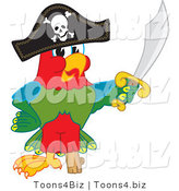 Vector Illustration of a Cartoon Parrot Mascot Dressed As a Pirate by Toons4Biz