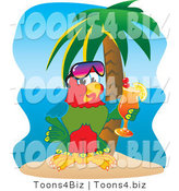 Vector Illustration of a Cartoon Parrot Mascot Drinking a Cocktail on a Tropical Beach by Toons4Biz