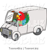 Vector Illustration of a Cartoon Parrot Mascot Driving a Delivery Van by Toons4Biz