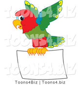 Vector Illustration of a Cartoon Parrot Mascot Flying a Blank Sign by Toons4Biz