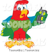 Vector Illustration of a Cartoon Parrot Mascot Holding a Cell Phone by Toons4Biz
