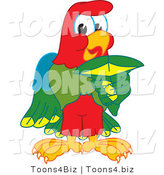 Vector Illustration of a Cartoon Parrot Mascot Holding a Shark Tooth by Toons4Biz