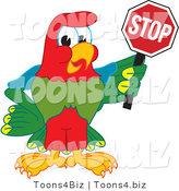Vector Illustration of a Cartoon Parrot Mascot Holding a Stop Sign by Toons4Biz