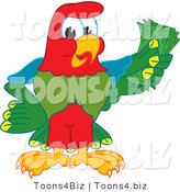 Vector Illustration of a Cartoon Parrot Mascot Holding Cash by Toons4Biz