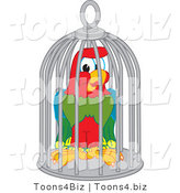 Vector Illustration of a Cartoon Parrot Mascot in a Cage by Toons4Biz