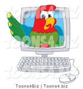 Vector Illustration of a Cartoon Parrot Mascot in a Computer by Toons4Biz