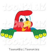 Vector Illustration of a Cartoon Parrot Mascot Looking over a Surface by Toons4Biz