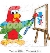 Vector Illustration of a Cartoon Parrot Mascot Painting by Toons4Biz