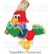 Vector Illustration of a Cartoon Parrot Mascot Playing Baseball by Toons4Biz
