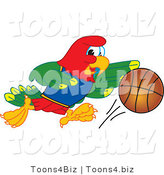 Vector Illustration of a Cartoon Parrot Mascot Playing Basketball by Toons4Biz
