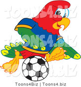 Vector Illustration of a Cartoon Parrot Mascot Playing Soccer by Toons4Biz