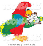 Vector Illustration of a Cartoon Parrot Mascot Reading by Toons4Biz