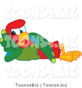 Vector Illustration of a Cartoon Parrot Mascot Resting by Toons4Biz