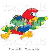 Vector Illustration of a Cartoon Parrot Mascot Running with a Football by Toons4Biz
