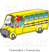 Vector Illustration of a Cartoon Parrot Mascot School Bus Driver by Toons4Biz