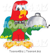Vector Illustration of a Cartoon Parrot Mascot Serving a Platter by Toons4Biz