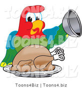 Vector Illustration of a Cartoon Parrot Mascot Serving a Turkey by Toons4Biz
