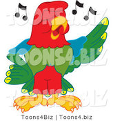 Vector Illustration of a Cartoon Parrot Mascot Singing by Toons4Biz