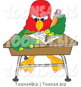 Vector Illustration of a Cartoon Parrot Mascot Taking a Quiz by Toons4Biz