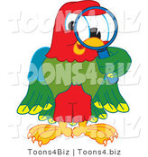 Vector Illustration of a Cartoon Parrot Mascot Using a Magnifying Glass by Toons4Biz