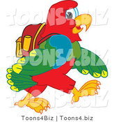 Vector Illustration of a Cartoon Parrot Mascot Walking to School by Toons4Biz