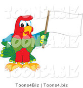 Vector Illustration of a Cartoon Parrot Mascot Waving a Blank Flag by Toons4Biz