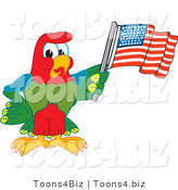 Vector Illustration of a Cartoon Parrot Mascot Waving an American Flag by Toons4Biz