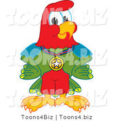 Vector Illustration of a Cartoon Parrot Mascot Wearing a Medal by Toons4Biz