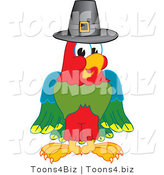 Vector Illustration of a Cartoon Parrot Mascot Wearing a Pilgrim Hat by Toons4Biz