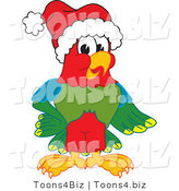 Vector Illustration of a Cartoon Parrot Mascot Wearing a Santa Hat by Toons4Biz