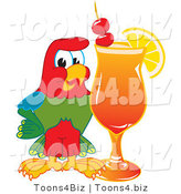 Vector Illustration of a Cartoon Parrot Mascot with a Fruity Cocktail by Toons4Biz