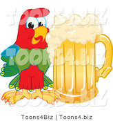 Vector Illustration of a Cartoon Parrot Mascot with a Mug of Beer by Toons4Biz