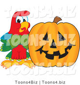 Vector Illustration of a Cartoon Parrot Mascot with a Pumpkin by Toons4Biz