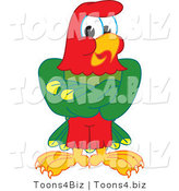 Vector Illustration of a Cartoon Parrot Mascot with His Wings Crossed by Toons4Biz