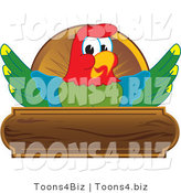 Vector Illustration of a Cartoon Parrot Mascot Wooden Plaque Logo by Toons4Biz