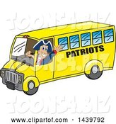 Vector Illustration of a Cartoon Patriot Mascot Driving a School Bus by Toons4Biz