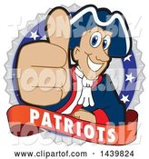 Vector Illustration of a Cartoon Patriot Mascot Giving a Thumb up on a Badge by Toons4Biz