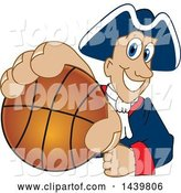 Vector Illustration of a Cartoon Patriot Mascot Grabbing a Basketball by Toons4Biz