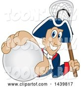 Vector Illustration of a Cartoon Patriot Mascot Grabbing a Lacrosse Ball and Holding a Stick by Toons4Biz