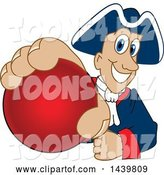 Vector Illustration of a Cartoon Patriot Mascot Grabbing a Red Ball by Toons4Biz