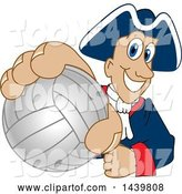 Vector Illustration of a Cartoon Patriot Mascot Grabbing a Volleyball by Toons4Biz