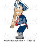 Vector Illustration of a Cartoon Patriot Mascot Holding a Baseball Bat by Toons4Biz