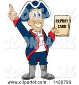 Vector Illustration of a Cartoon Patriot Mascot Holding a Report Card by Toons4Biz