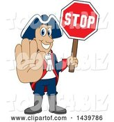 Vector Illustration of a Cartoon Patriot Mascot Holding a Stop Sign by Toons4Biz
