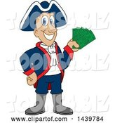 Vector Illustration of a Cartoon Patriot Mascot Holding Cash Money by Toons4Biz