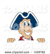 Vector Illustration of a Cartoon Patriot Mascot Looking over a Sign by Toons4Biz