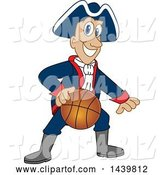 Vector Illustration of a Cartoon Patriot Mascot Playing Basketball by Toons4Biz