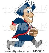 Vector Illustration of a Cartoon Patriot Mascot Playing Football by Toons4Biz