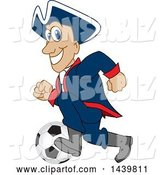 Vector Illustration of a Cartoon Patriot Mascot Playing Soccer by Toons4Biz